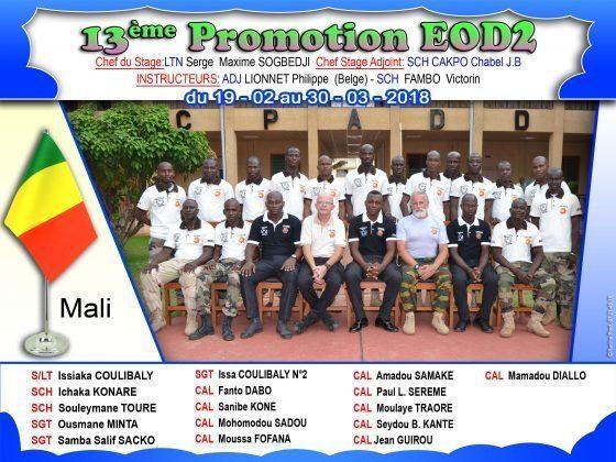 Le 30 mars 2018 : Clôture du stage EOD2 – UNMAS Mali
